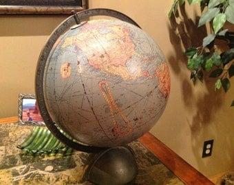 "ANTIQUE Vintage 1940's 12"" REPLOGLE Library Globe"