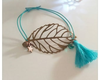 Bracelet leather & leaf watermark