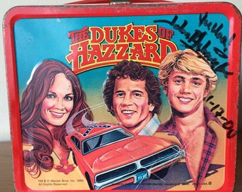 Vintage The Dukes of Hazzard Metal Lunchbox Autographed by John Schneider Bo Duke 70's 80's TV Show Toy