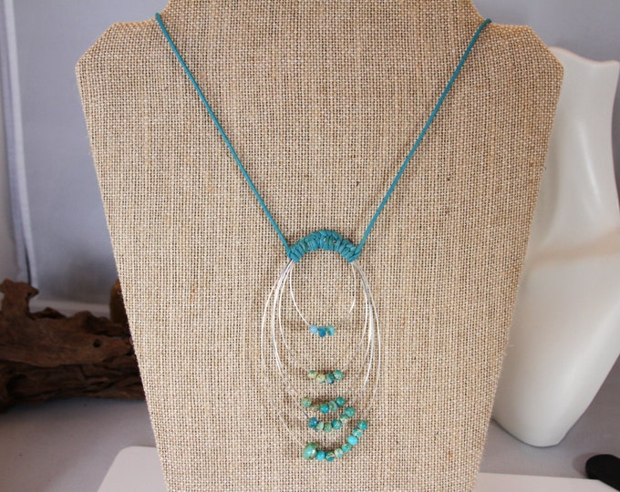 African Jade and Silver leather cord necklace
