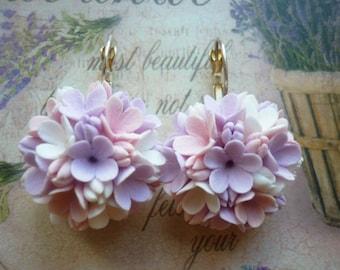 Flower earrings Lilac earrings Floral earrings Blossom earrings Cluster earrings Wedding earrings boho Clay flower earrings Valentines gift