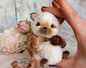artist teddy Cat , ooak sweet art collectible toy, stuffed baby animal, miniature plushie soft animal doll