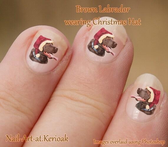 Christmas Finger Nail Art: Brown Labrador, Christmas Nail Art, Chocolate Lab, Dog