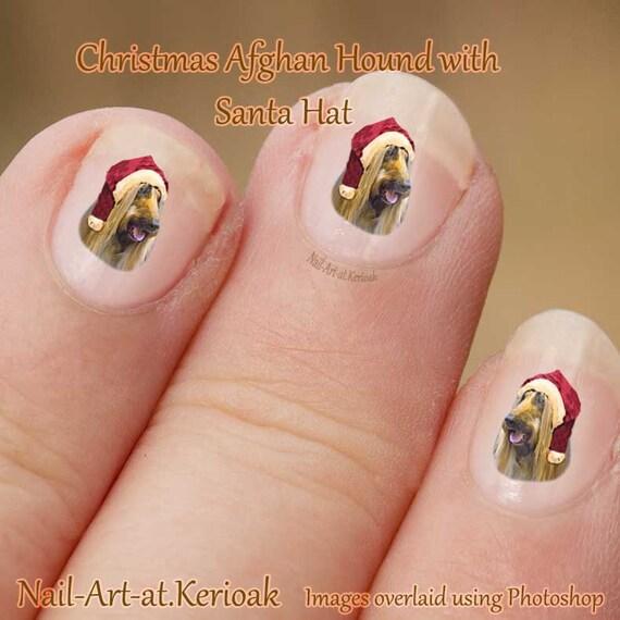 Christmas Finger Nail Art: Christmas Afghan Hound Nail Art Stickers, Wearing A Santa