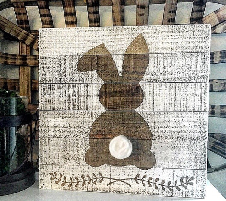 Ratings Feedback For Gavan Wood Painting Decorating: Rustic Easter Bunny Sign Easter Sign Spring By