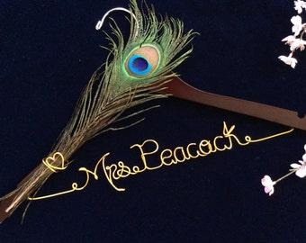 Peacock feather wedding hanger,Ornament wedding hanger, Personalized wedding hanger, Bride hanger, wedding dress hanger