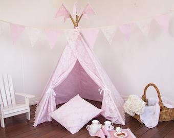 Kids Teepee - Vintage Inspired Pink Lace Teepee