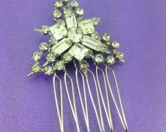 Bridal Hair Comb, Vintage Rhinestone Brooch, 1930's Brooch, Vintage Wedding, Baguette Crystals, OOAK Hair Accessory