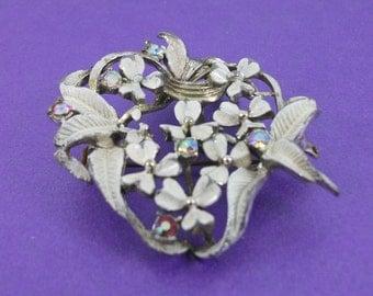 Vintage Enamel Brooch, Flower Brooch, Crystal Brooch, Vintage Gift
