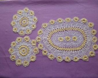 A Three Piece  Irish Lace Dressing Table / Vanity  Set