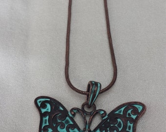 Antique Copper Butterfly Necklace