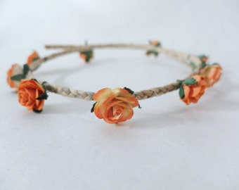 Mini flower hair wreath - orange flower headpiece - girl hair crown - flower hair accessories