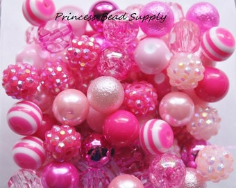 Shades of Pink 12mm Bead Mix,  100 12mm Chunky Bulk Beads, 12mm Bulk Bead Mix,  12mm Mini Chunky Beads  100 Gumball Beads Wholesale Beads