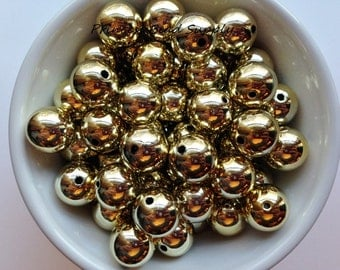 16mm Gold UV Metallic Chunky Beads Set of 10,  Bubble Gum Beads, Gumball Beads, Acrylic Beads