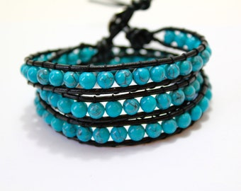 Turquoise Wrap Bracelet; Leather Wrap Bracelet, 5 wrap Leather Bracelet, Beaded Wrap Bracelet, Wrap leather bracelet