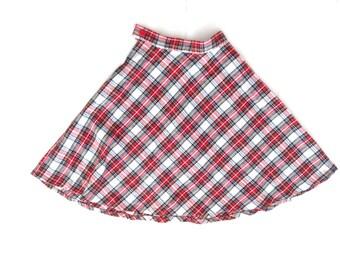 70's vintage skirt. Plaid circle skirt. Retro midi skirt.