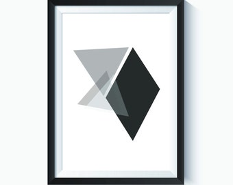 Geometric, Abstract, Geometric Triangle, Black and White, White Print, Abstract Print, Minimalist, Minimalist Print, Modern Art, Printable