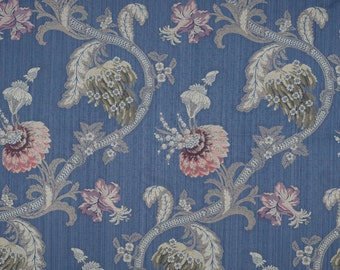 SCALAMANDRE ROCAILLE Floral Silk Fabric 10 Yards Multi on Blue