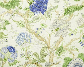 CLARENCE HOUSE JACOBEAN Tree of Life Linen Fabric 10 Yards Cobalt Blue Green Amber Multi