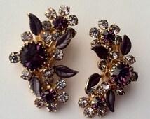 Vintage Purple and Clear Rhinestones Flower Clusters with Enamel Leaves Clip Earrings