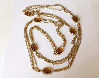 Vintage Sarah Coventry Long Chain and Topaz Glass Necklace