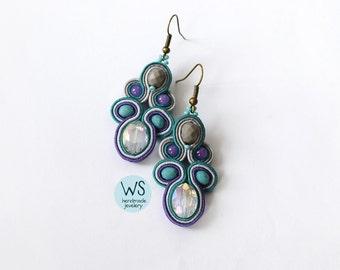 Long dangle earrings. Fashion dangle earrings. Turquoise, purple, gray jewelry. Handmade Earrings Soutache.