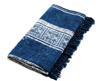 Floral Indigo Batik Throw ,  Blue Throw Blanket, Batik throw, Indigo throw, Cotton throw, hand loomed throw, Indian throw, Indigo blanket
