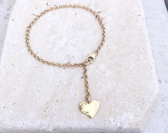 Gold heart bracelet, bridesmaids gift, prom, wedding gift, heart bracelet, Gold heart, birthday gift