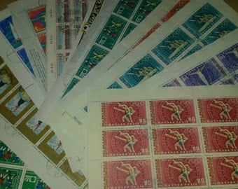 11 sheets stamps, sport, crafting, scrapbook or collecting