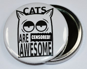 Cats are f**king awesome makeup mirror - cats - makeup mirror - cat mirror - makeup tools - gift idea
