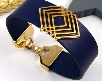 Kit tutorial blue 20mm leather strap bead ethnic clasp flashed gold