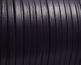 Flat black leather 0,11 inches by 1 meter