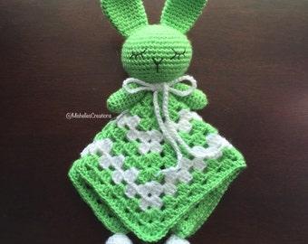 Crochet Rabbit Security Blanket, Snuggle Toy, Rabbit Toy, Baby Lovey, Blankie Buddy, Infant Toy RST003
