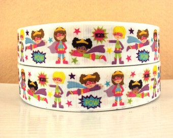1 inch  SuperGirl on White Super Hero  Superhero Super girl  -  Printed Grosgrain Ribbon for Hair Bow