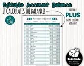 Editable Account Register Printable, Printable Account Tracker, Account Balance Log, Printable Expense Log, Home Finance, Download, PDF
