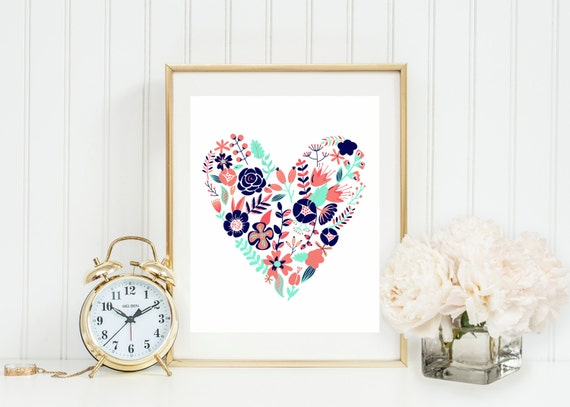 Coral Navy And Gold Floral Heart Wall Art Coral Mint By