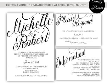 Printable Wedding Invitation - Calligraphy Wedding Invitation - Black &White Wedding Invitation - DIY Wedding Invitation