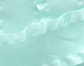 "1.5"" Satin Double Ruffle Ribbon - Aqua 3yds"
