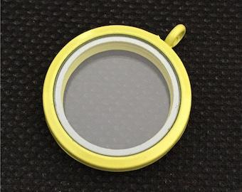Yellow Floating Locket Round - Memory Locket - 30MM