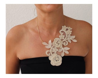 Statement Necklace, Bridal Jewelry, Lace Flowers, gift for her