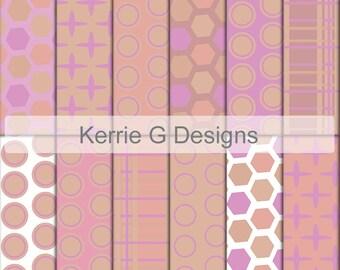 Pink Paper scrapbook downloadable pattern paper pack Printable digital paper girls digi background pink pattern backgrounds