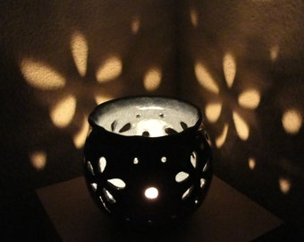 Pottery luminary, Candle holder, Candle lantern, Tealight lantern, Candle centerpiece, Pottery gift ideas.