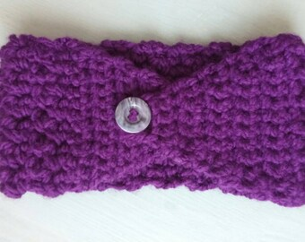 Handmade purple ear warmer headband