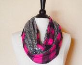 Plaid infinity scarf - pink infinity scarf - sparkle infinity scarf - gift for her - flannel infinity scarf - chunky infinity scarf