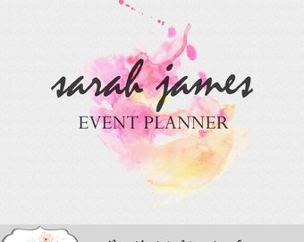 Premade Abstract Watercolor Logo Design Photography Blog Event Wedding Planner Hairstylist Boutique Shop Business Marketing