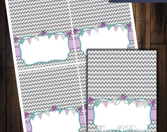 Baby Shower Table Tent Food Labels - Gray Chevron with Purple & Teal - INSTANT DOWNLOAD