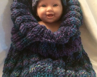 Hand Knit New Born Baby Cocoon / Bunting Bag
