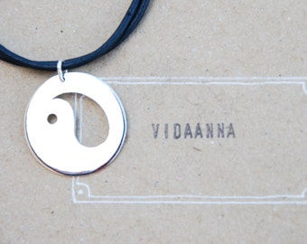 "49* ""YinYang"" - big silver coin, Necklace of Sterling Silver 925"