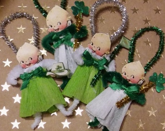 Set of 4 Vintage Style Chenille Kewpie St. Patricks Day Ornaments