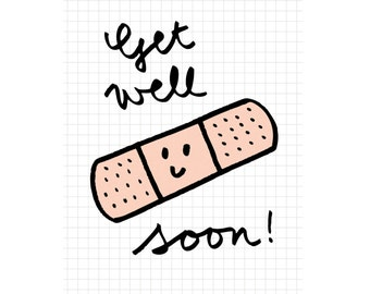 "Greeting card post card get well card ""Get Well Soon"""